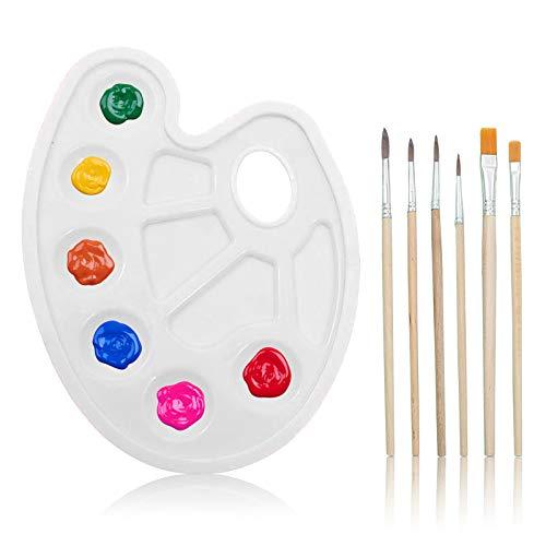 MHwan juego de bandeja de paleta de pintura, paleta de artista, Paleta de mezcla de paleta de pintura artística con orificio para el pulgar y 10 pocillos para pintura de arte artesanal, 2 piezas