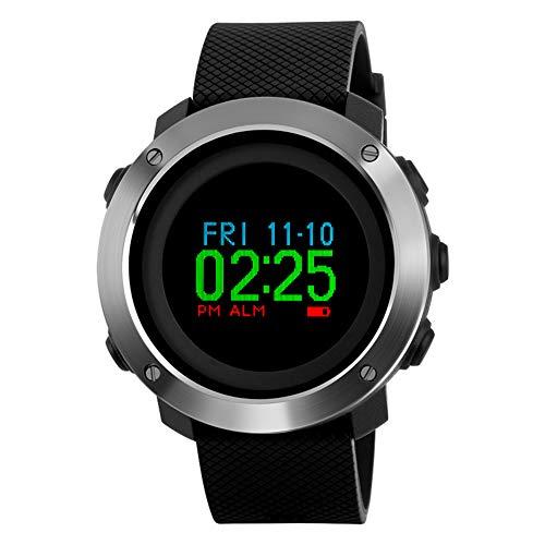 JIHUIA Hombres/Mujer Digital Deportes Reloj, 50 m Impermeable Al Aire Libre Sur Aguja Mesa Alarma/Minutero/Zona horaria Dual/Luz de Fondo LED/Podómetro