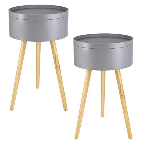 ONVAYA Beistelltisch Sofia aus Holz | 2er-Set | Ø 38 cm | Couchtisch rund | Nachttisch Kiefer | Stauraum & Abnehmbarer Deckel | Modernes skandinavisches Design | Grau Holz