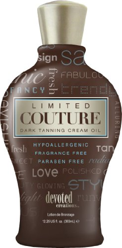 Devoted Creations Limited Couture Hypoallergenic Paraben Free Dark Tanning Creme Oil 12.25 oz.