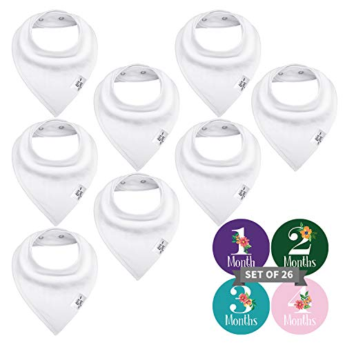 Bossy Sassy Plain Baby Bibs for Boys Girls, 8 Pack Baby Bandana Drool Bibs Solid Colors with 12 Fabric Markers Pens, Funny DIY Games & Best Gifts for Baby Shower Party