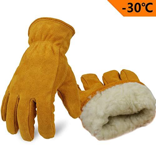 OZERO Winterhandschuhe,Thermo Arbeitshandschuhe Mit Anti-Rutsch Rindsleder und Dick Futter Für Garten und Arbeiten,für Herren und Damen