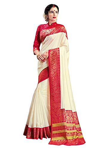 AKHILAM Women's Durga Puja Patola Silk Bengali Saree With Blouse Piece (Cream and Red)