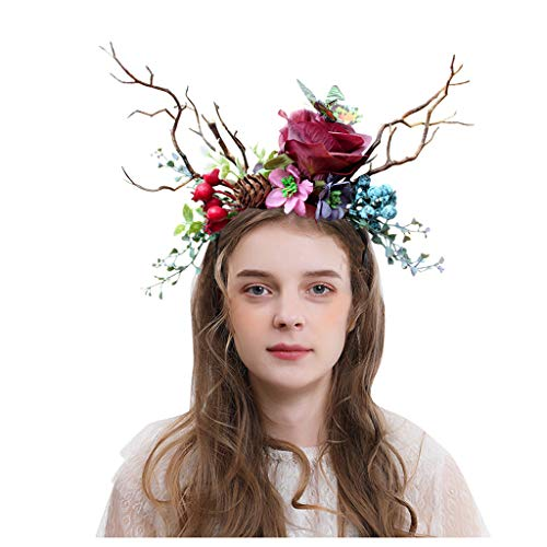 Decoratieve haarband voor Halloweenkostuum met bloemenmotief, kattenoren, veer, kauwgom, punk, retro, bloemenhaarbanden, haarbanden, haarbanden, haarspelden voor feestjes