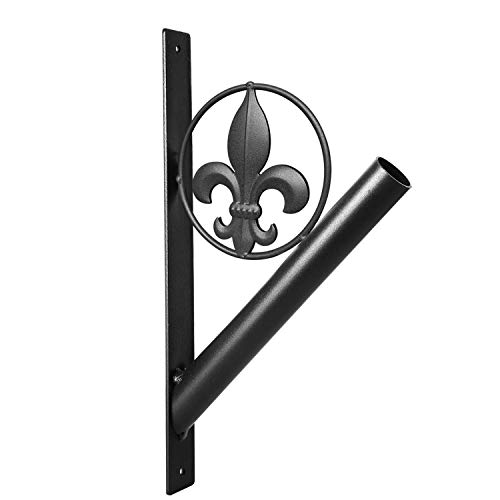 """Flag Pole Holder – Fleur de Lis Rustic Iron Bracket Mount Outdoor Wall Décor for House, Metal Decorative Mounted Holders for Poles, Flags, and Banner for Outside Porch, 1-1/8"""" Inner Diameter (Black)"""