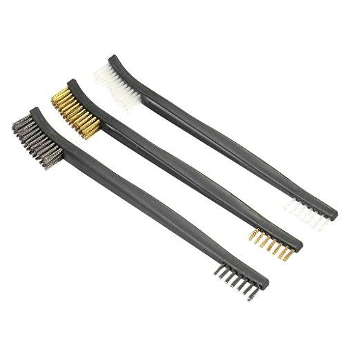 3 Pcs double extrémité Brosse de nettoyage de fil d'acier en nylon Laiton Brosse kit
