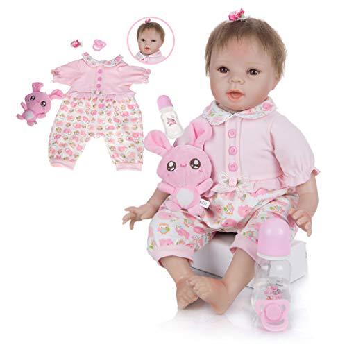 TINGSHOP 55 cm Volles Silikon-Vinyl Reborn Baby Doll Naturgetreue Lächeln Baby-Puppe Für Kinder Tages-Kindergeburtstags Alter 3+