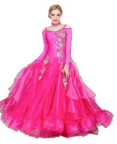 Fhxr Vestido de baile de saln estndar nacional para mujer, traje de danza moderna, vestido de vals de baile social (color rojo rosa, tamao: XXL)