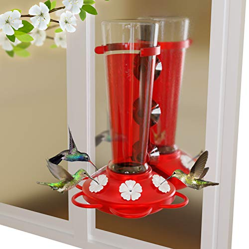 Nature Anywhere Window Hummingbird Feeders for Outdoors Including 3 Colors of Interchangeable Flowers for Hummingbirds Food and Nectar (Large)