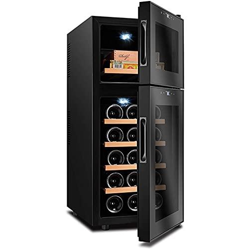YANGHONG-Gabinete de puros- 59 litros de vino refrigerador vino gabinete de cigarro 1 Máquina del cuerpo 50% espejo oculto puerta de vidrio Doble temperatura independiente Mute y ahorro de energía Fre