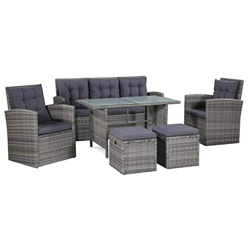 Unfade Memory 6 Piece Outdoor Furniture Sofa Couch Set, Deck Rattan Conversation Set with Cushion and Table, Gray