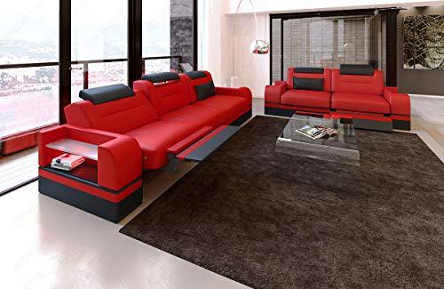 Sofa Dreams Designer Couchgarnitur Parma in Leder mit 3er und 2er