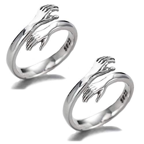 Couple Hug Ring 2pcs Silver Adjustable Huging Rings for Women Girls Jewelry Romantic Stackable Open Ring