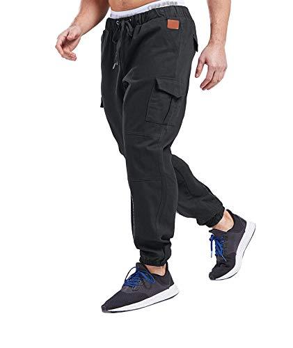 SOMTHRON Herren Elastische Taille Gürtel Baumwolle Jogging Sweat Hosen Plus Size Mode Lange Sports Cargo Hosen Shorts mit Taschen Joggers Activewear Hosen, Dark Grey, L