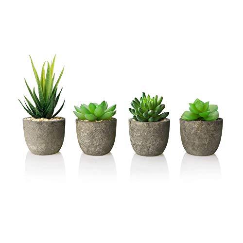 AmzKoi Künstliche Sukkulenten, 4 Stücke Künstliche Pflanzen, Mini Künstliche Sukkulenten Set mit Töpfen, Kunstpflanzen Klein Deko für Büro, Tische, Balkon, Wohnzimmer, Schlafzimmer