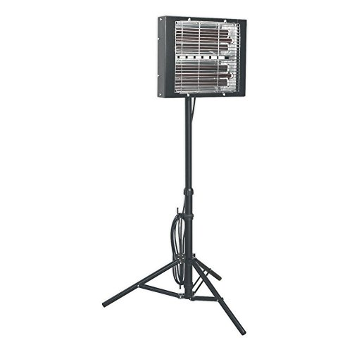 Sealey LP3000 3000W Infrared Quartz Heater -Tripod Mounted 3000 W Infrarot-Quarz-Heizgerät, Stativ montiert, Schwarz