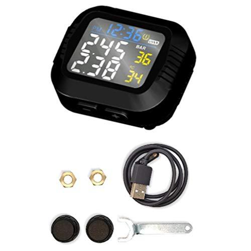 Laimiko Sistema de Monitoreo de PresióN de NeumáTicos en Tiempo Real para Motocicletas a Prueba de Agua Pantalla LCD InaláMbrica con Sensor Externo Moto TPMS