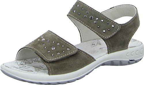 Imac 112479 Sandalette Sandale Kinderschuh Mädchen Veloursleder Pailletten Strass Klettverschluss Farbe: Braun Größe 40