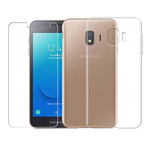 SCDMY pour Samsung Galaxy J2 Core Coque + Verre Trempé écran Protecteur,Ultra-Thin Transparent Protection Case Souple Silicone TPU Bumper Etui pour Samsung Galaxy J2 Core (5.0 Pouce) -Clear
