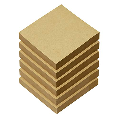Kraft Sticky Notes 3x3 Inches, 6 Pads Self-Stick Pads, 100 Sheets/Pad, Post Notes for Study, Works, Daily Life (Brown)
