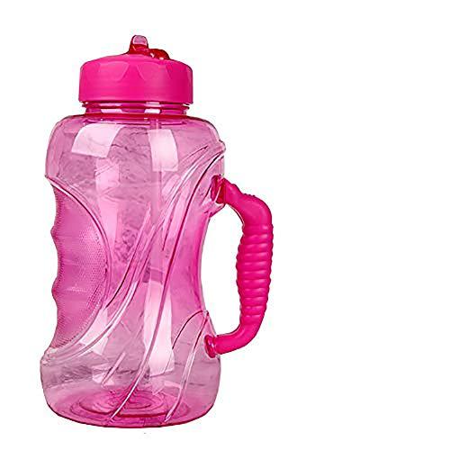 Große Trinkflasche mit Strohhalm, (1.5L) Wasserflasche Spülmaschinenfest Groß Sportflasche - Auslaufsicher, BPA Frei, Transparent, Praktisch - Große Drinkflasche für das Laufen, Fitness, Yoga (Rosa)