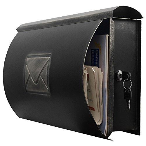 Wand Briefkasten Wandbriefkasten Postkasten Mailbox mit Zeitungsrolle Zeitungsfach Zeitungsbox/Silber