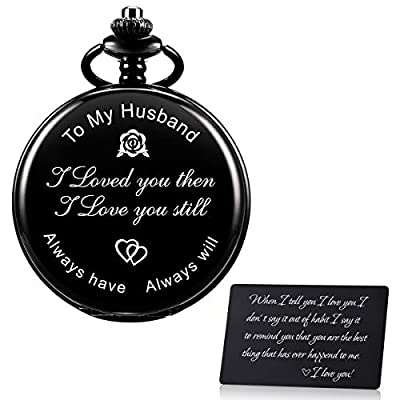 Amazon - Save 50%: SIBOSUN Pocket Watch Men Personalized Chain Quartz from Son Daughter Child t…
