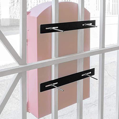 PrimeMatik - Befestigungs Set für Zäune Mailboxen Stahl 25cm. Briefkasten Metall Befestigungs Stangen