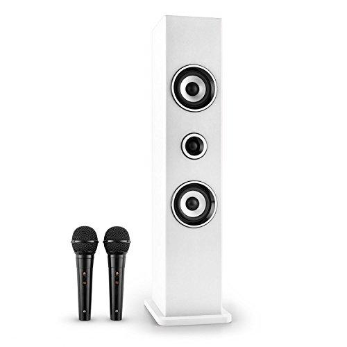 AUNA Karaboom - Karaoke para niños, Set de Karaoke, Torre de Sonido, 2 Altavoces de Banda Ancha, potenciador de Bajos, Bluetooth, 2 micrófonos dinámicos, USB, Soporte para micrófono, Blanco