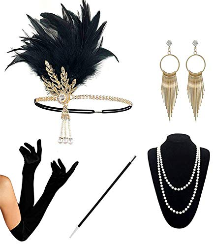 1920s Accessories Set for Women Flapper Gatsby Costume Fancy Dress Accessories with 20's Vintage Feather Headband Gloves Necklace Black Cigarette Holder Earrings