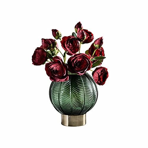 Linckry Jarrón de Cristal en Relieve con Soporte Redondo Simple nórdico Ligero, decoración para el hogar, Modelo de Tienda, jarrón Decorativo