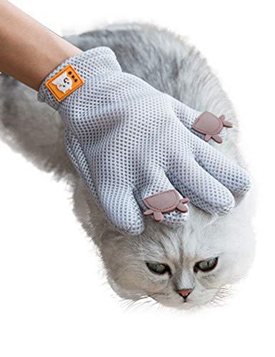 Bestgift handschoenen, zacht, voor huisdieren, vachtverzorging voor honden en katten, 23.5 * 16(cm), grijs.