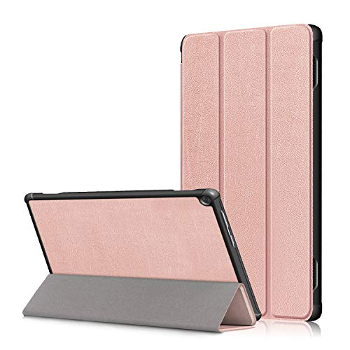 Lenovo M10 FHD Rel 10.1' Cover, Heavy Duty PU Leather Case with Auto Wake Up/Sleep Shell Multi-Angle Viewing Stand Bumper for Lenovo M10 FHD Rel TB-X605FC/TB-X605LC 10.1 Inch Tablet PC (rose gold)