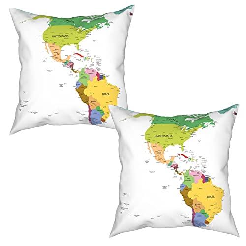 2 Piezas Fundas de Cojines Mapa de América del Sur y del Norte con capitales de países y ciudades principales Diseño Suave Almohada Decorativo para Habitacion Sofá Dormitorio Oficina Sala-45x45cm