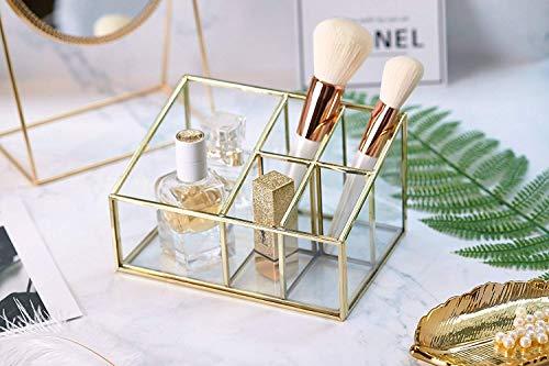 PuTwo Rangement Maquillage 5 Compartiments Organisateur Maquillage en Verre Pot Rangement Maquillage Idéal Pour Ranger Parfums, Pinceaux Maquillage, Rouges à Lèvres, Vernis à Ongles - Doré