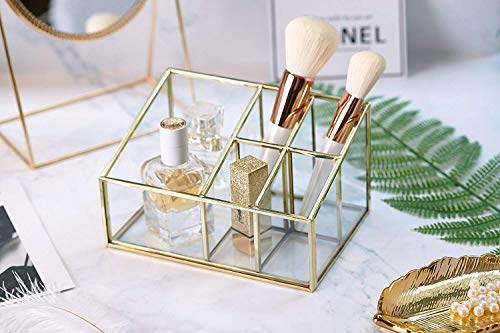 PuTwo Makeup Organizer Vintage 5 Compartments Glass & Metal Cosmetic Organizer Brass Makeup Storage for Makeup Brushes Perfume Lipsticks Nail Polish Makeup Holder for Dresser Vanity Countertop - Gold