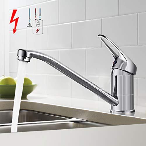BONADE Einhebel Niederdruck Küchenarmatur Wasserhahn 360° schwenkbare Spültischarmatur Armatur Küche Chrom Mischbatterie Einhandmischer Einhebel-Küchenmischer für drucklose Boiler Küche Spüle