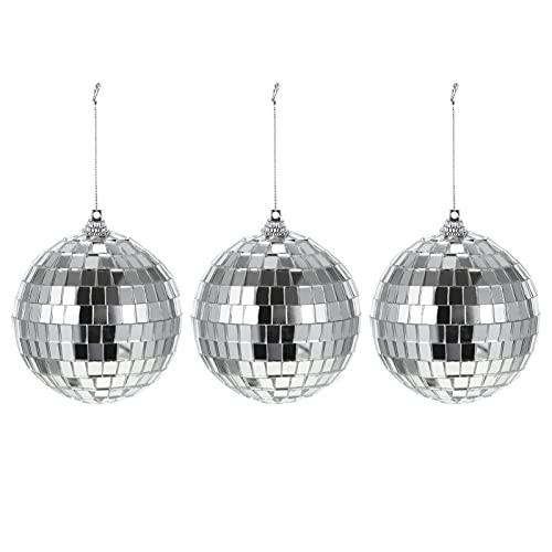 STOBOK 3 Piezas de Bola de Espejo de Cristal Reflectante Esfera de Espejo Colgante Bola de Iluminación de Discoteca 8CM Bar Club Graduación Fiesta Baile Etapa Bola Decoración