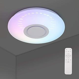 ONEVER Lámpara De Techo 3d Luz Redonda, Montaje Empotrado, Luz De Techo Led Redonda Persecución Música Luz De Techo Altavoz Bluetooth 2.4g Control Remoto Para Salón, Baño