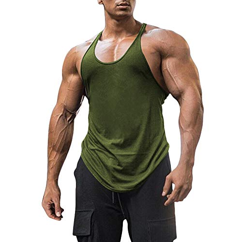 Men's Cotton Workout Tank Tops Dry Fit Gym Bodybuilding Training Fitness Sleeveless Muscle T Shirts (Army Green, Large)