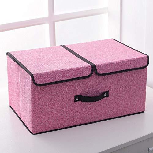 ZXL bewaarbox/stoffen bekleding, opbergdoos, groot opvouwbaar ondergoed, sokken, opbergdoos, slaapzaal, opbergdoos, 50 x 30 x 25 cm, roze