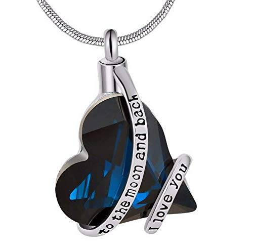clockxm Cremation Necklace I love you to the moon and back memorial cremation jewelry fashion ash urn pendant necklace