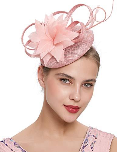 Coucoland Fascinators Hut Damen Elegant Blumen Feder Fascinator Haarreif für Hochzeit Cocktail Tee Party Derby Haar Kopf Accessoires Damen Karneval Fasching Kostüm Zubehör (Nude Pink)
