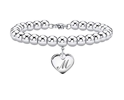 Initial Bracelet for Girl Heart Tag Bead Bracelet Letter M Bracelets Birthday Gifts