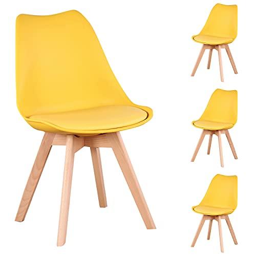 Nordic Time Un conjunto de 4/6 diseño ergonómico, silla de comedor tapizada, 83 cm x 48 cm x 47 cm, adecuado para comedor, dormitorio, sala de recepción (amarillo, 4)