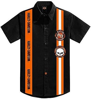 KICKKICK® Camisa Harley Davidson oficial y original – Tallas de 4 a 12 años – Manga corta – Camisa negra con inserciones y parche