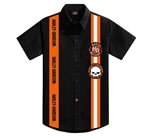 KICKKICK® Camisa Harley Davidson oficial y original - Tallas de 4 a 12 años - Manga corta - Camisa negra con inserciones y parche
