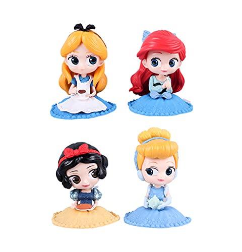 4 Piezas 9-11 Cm Juguete Frozen Cenicienta Elsa Ariel Princesa Figuras PVC Modelo Princesa Juguetes para Niñas Niños Juguetes Regalo
