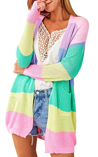 ECOWISH Womens Color Block Striped Draped Kimono Cardigan with Pockets Long Sleeve Open Front Casual Knit Sweaters Coat Pink XL