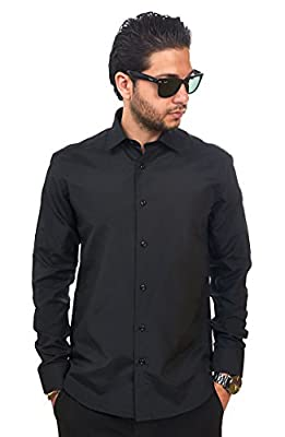 AZAR MAN Slim Fit Men's Dress Shirt Solid Color Long Sleeves Spread Collar Fitted by